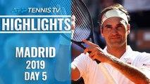 Federer Wins 1200th Match; Nadal, Djokovic And Thiem Go Through | Madrid Open 2019 Highlights Day 5