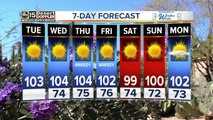 Warm in the Valley, storms up north
