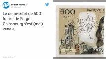 Un demi-billet de 500 francs signé par Serge Gainsbourg adjugé 5 000 euros