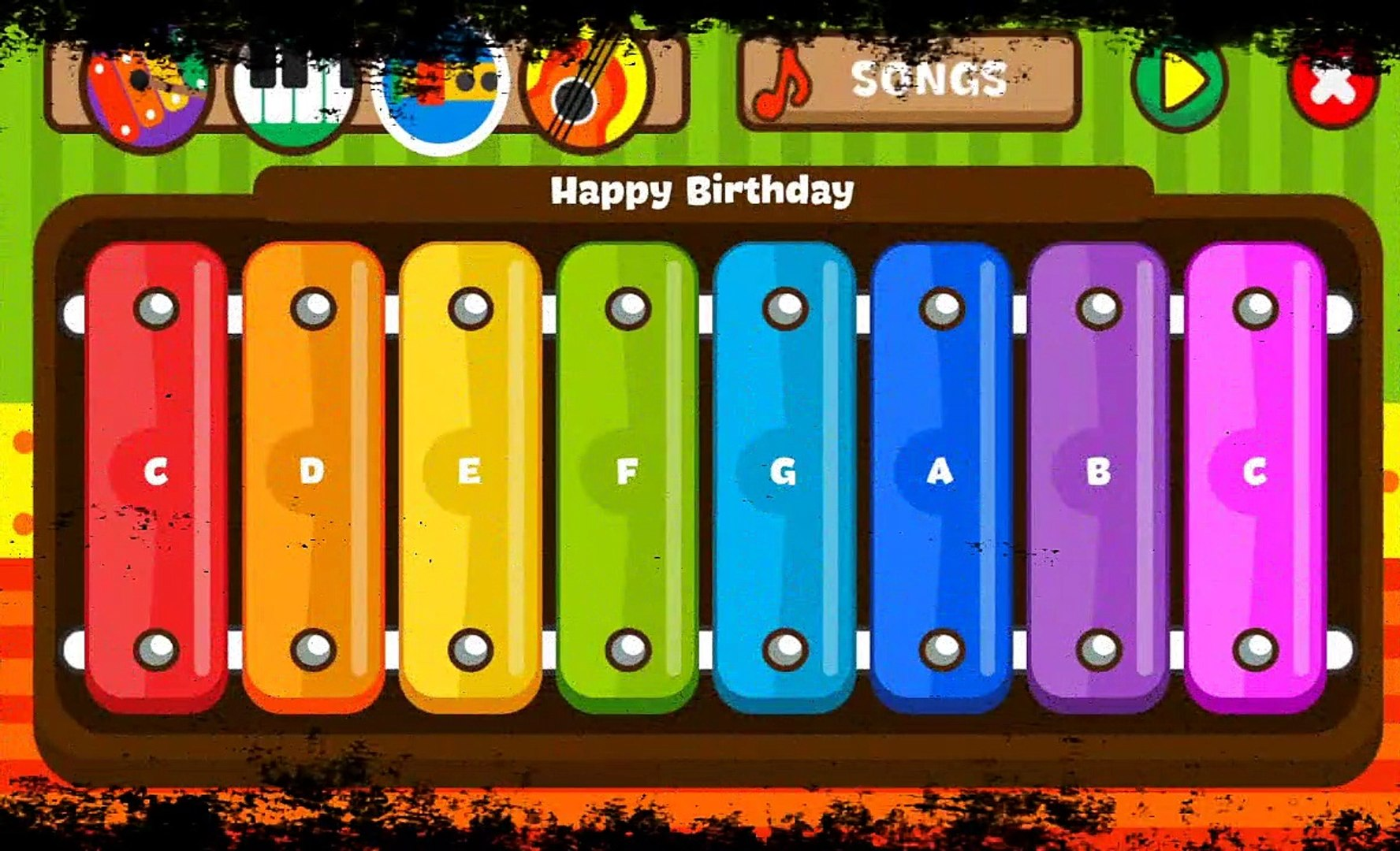 Happy Birthday Song For Children ( Music Of Guitar, Piano, Trumpet, Xylophone )