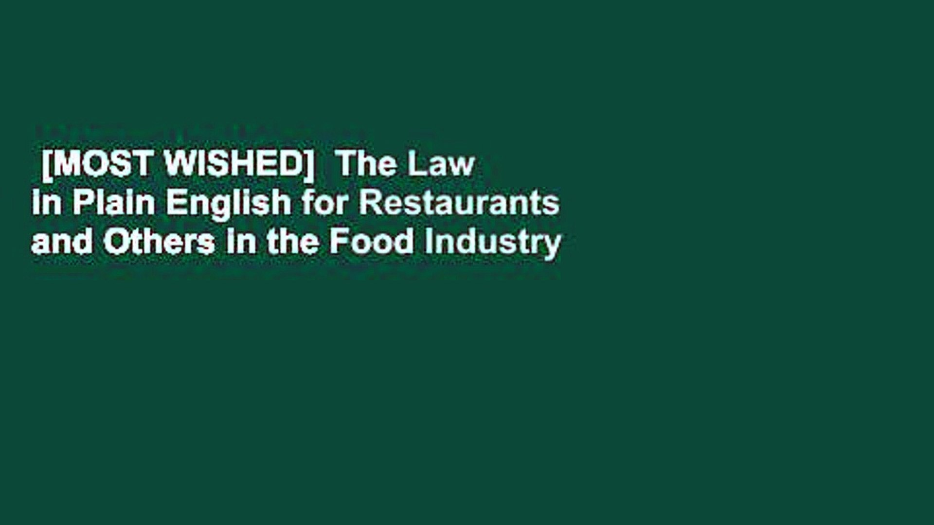 Law (In Plain English)® for Restaurants and Others in the Food Industry (Law in Plain English)