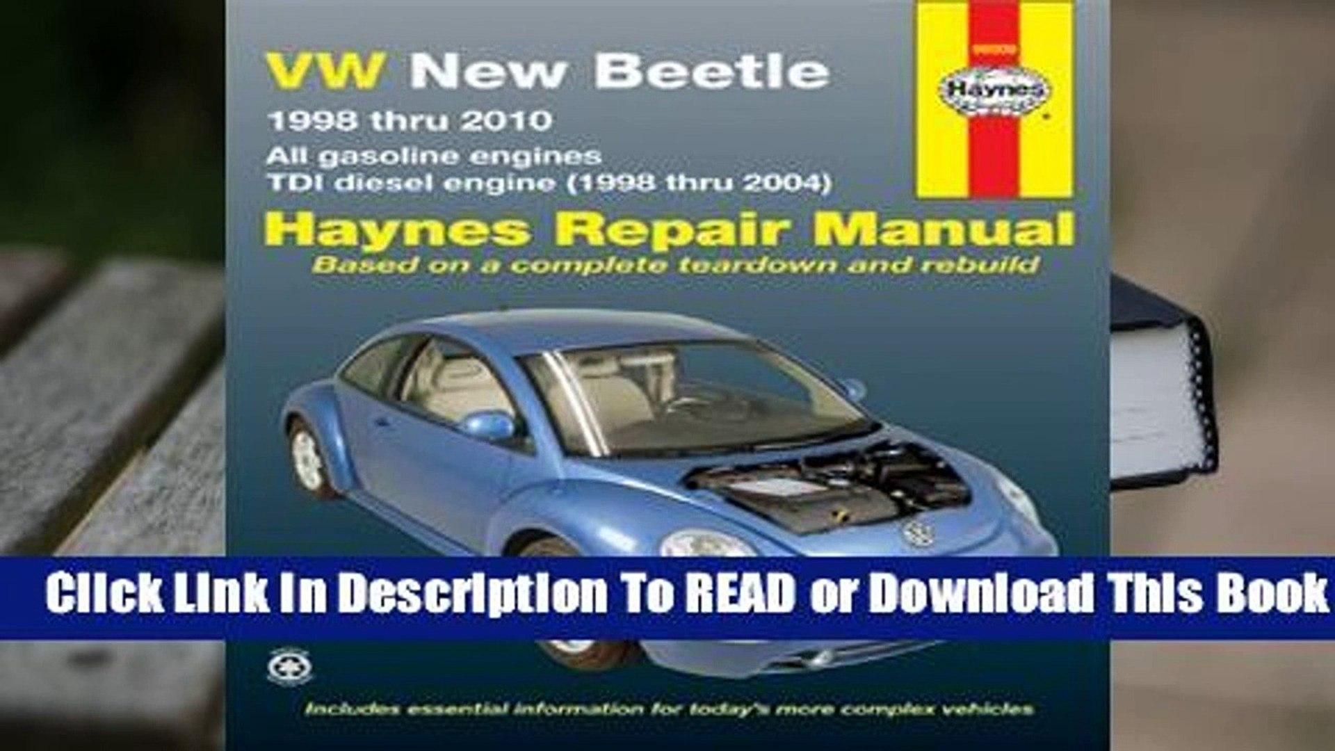Online VW New Beetle 1998 thru 2010: All gasoline engines - TDI diesel engine (1998 thru 2004)