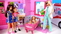 Barbie Chelsea Sick Morning Routine - Doll Hospital Room - Barbie Pediatrician