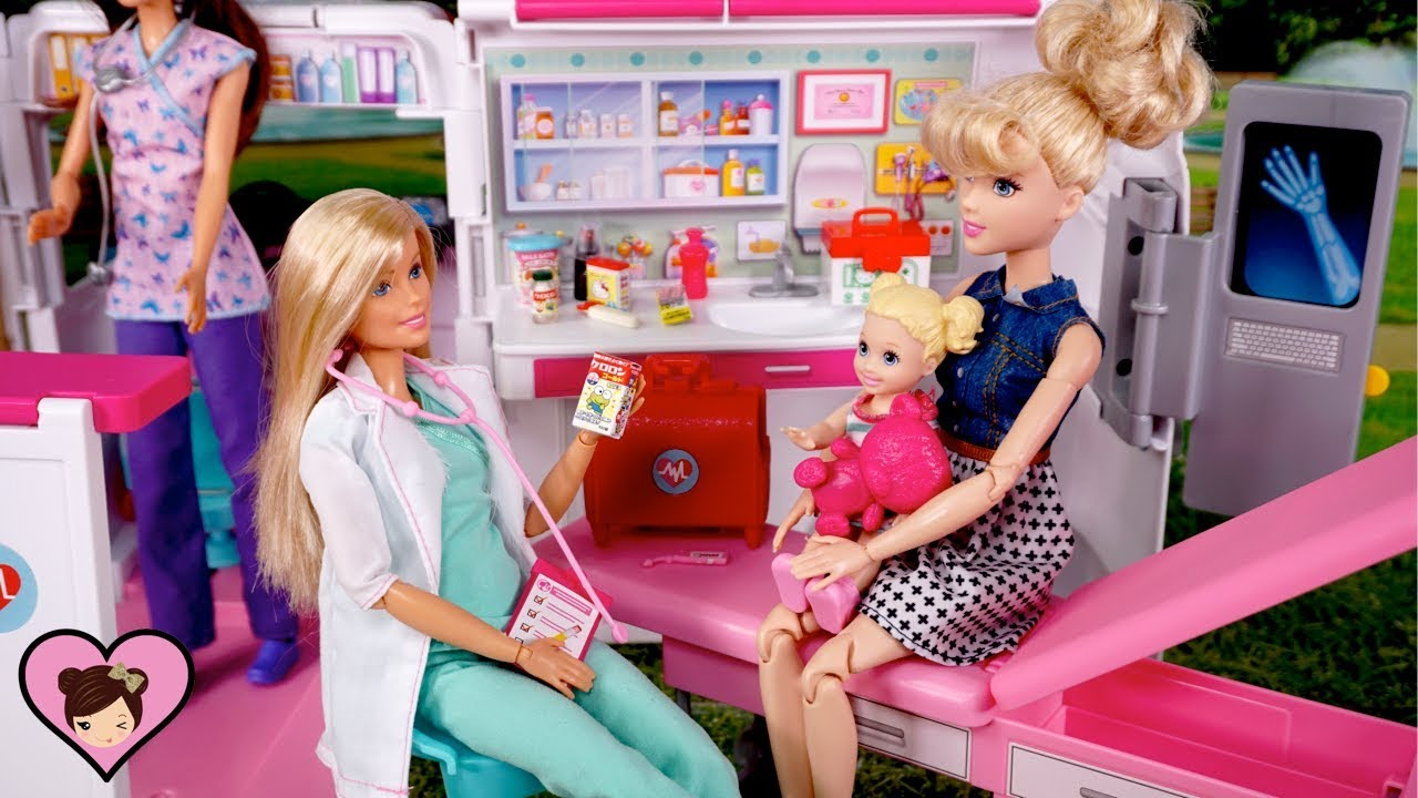 Barbie Ambulance Care Clinic Car with Hello Kitty Rement Dollhouse Miniatures