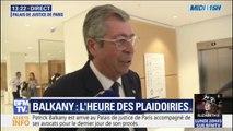 Patrick Balkany et son avocat maître Eric Dupont-Moretti arrivent au Palais de justice de Paris pour le dernier jour de son procès