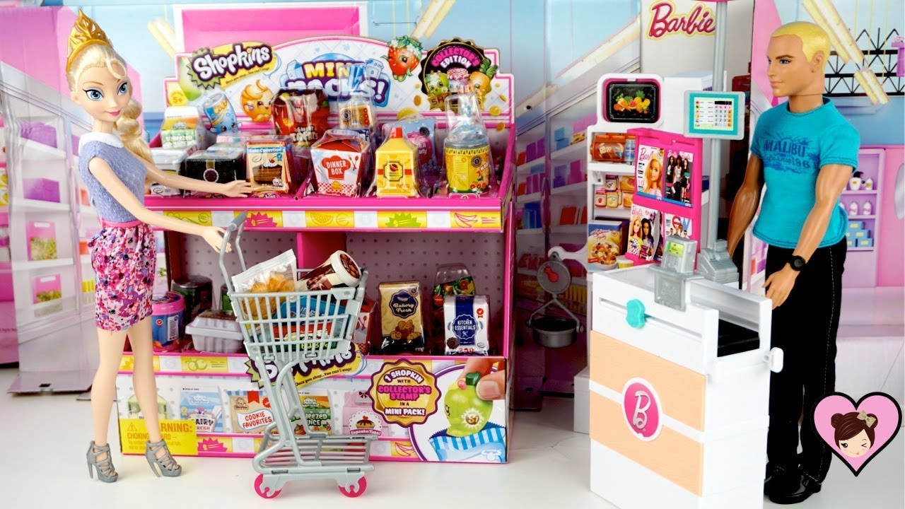 Elsa Doll Grocery Shopping in Barbie Supermarket with Shopkins Miniature Dollhouse Food