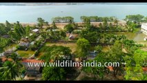4k Birds eye view of Gosaba and Satjelia islands village life -UNESCO World Heritage Site Sundarban, Bay of Bengal, India