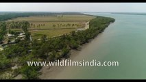 Sundarban , Rare North most part of Sundarban Forest Mangrove , never seen before Aerial 4k footage of the Endangered Mangrove Delta , Bay of Bengal, India