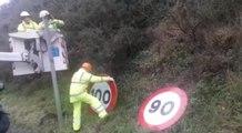 Cambio de señal de tráfico a 90 k/h en carreteras convencionales