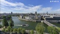 Installation d'une bâche de protection sur la Cathédrale Notre Dame de Paris en Timelapse