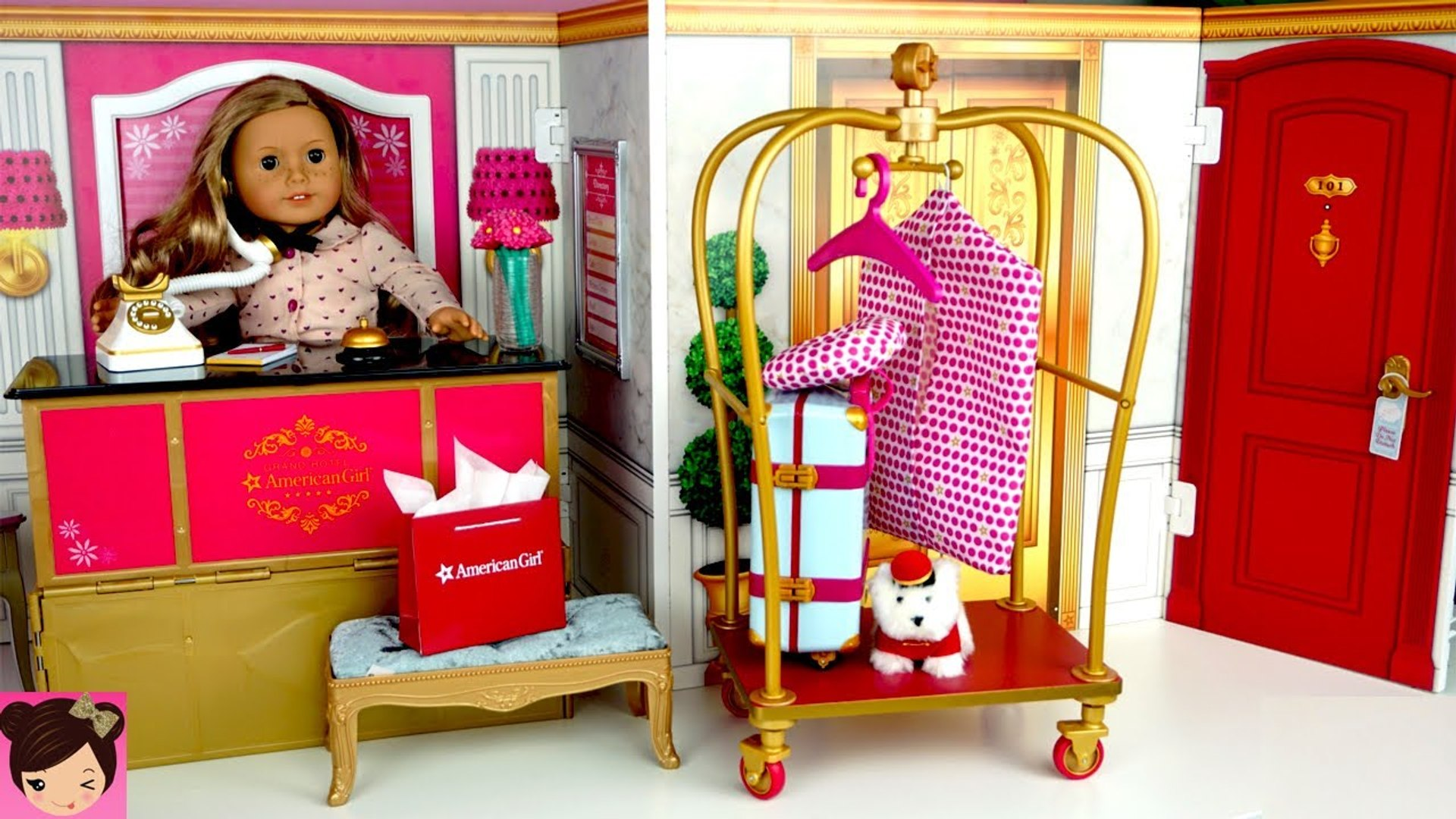 Toy Hotel Play Set - Doll Bedroom Bathroom - American Girl Grand Hotel Full Collection