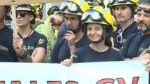 Manifestación de los bomberos forestales