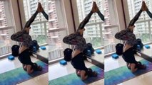 Mouni Roy gives major fitness goals by her Pincha Mayurasana;Watch video | Boldsky