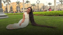 Rapunzel peruana espera alcanzar el record mundial de pelo más largo.