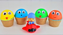 4 Color Play Doh Ice Cream Cups Pocoyo Toys Surprises Learn Colors