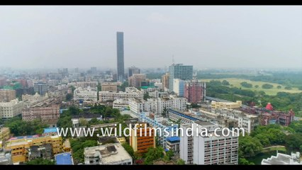 Birds eye view of Kolkata streets and buildings, from Parkstreet. 4k Aerial view, Kolkata, West Bengal, India. Stock footage.