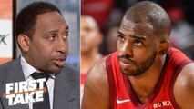 Chris Paul denies ever requesting a trade from the Rockets - Stephen A. - First Take