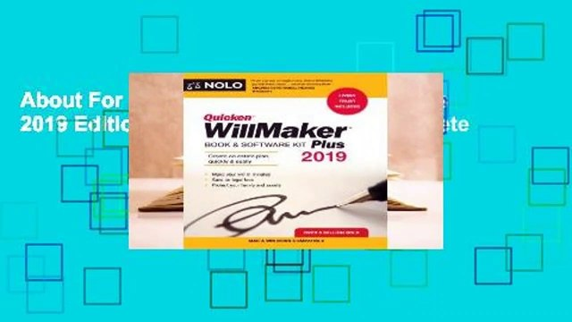 About For Books  Quicken Willmaker Plus 2019 Edition: Book & Software Kit Complete