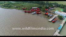 Aerial view of Diamond Harbour, West Bengal, Bay of Bengal, India, 4k Aerial stock footage
