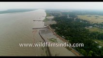 Panorama view of  Kakdwip Gangasagar, Bay of Bengal, West Bengal, India - 4k Aerial Stock  Footage for films