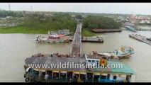 Kakdwip Gangasagar , Hooghly River, West Bengal, Bay of Bengal, India - 4k Aerial stock footage