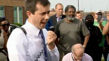 Pete Buttigieg confronted by protesters in South Bend, Indiana
