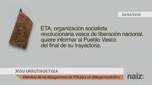 """Josu Ternera pone voz al último comunicado de ETA sobre """"el final de su trayectoria"""""""