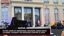 Elton John et Emmanuel Macron, main dans la main, passent un message contre le Sida (vidéo)