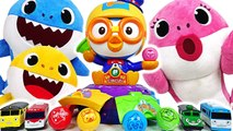 Baby Shark vs Daddy Shark- Ball game- Pororo Circus eggs play with Titipo -PinkyPopTOY