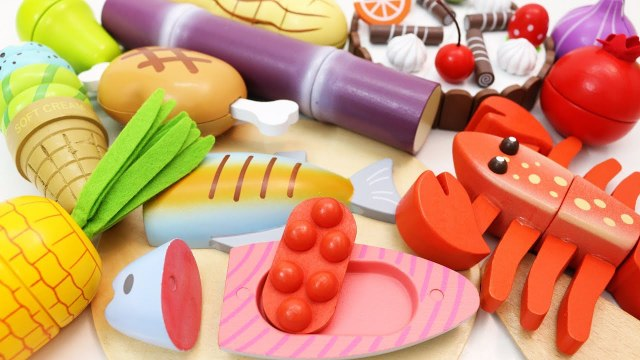 Learn Fruits and Vegetables with Wooden Toys - Cutting Fruits and Vegetables for Kids Toddlers