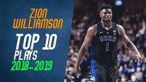 Zion Williamson Top 10 Plays from 2018-2019 NCAA Season
