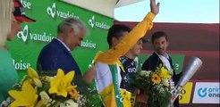 Cycling - Tour de Suisse - Winner Egan Bernal On The Podium With Rohan Dennis and Patrick Konrad