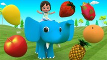 Learning Fruits Names for Children with Little Baby Elephant Fun Play Fruits Truck 3D Kids Edu