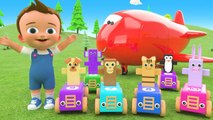 Learn Colors - Numbers for Children with Wooden Animal Toy Cars Cargo Fun Play 3D Kids