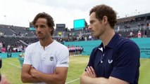 Reaction after Murray and Lopez win Queens Club doubles