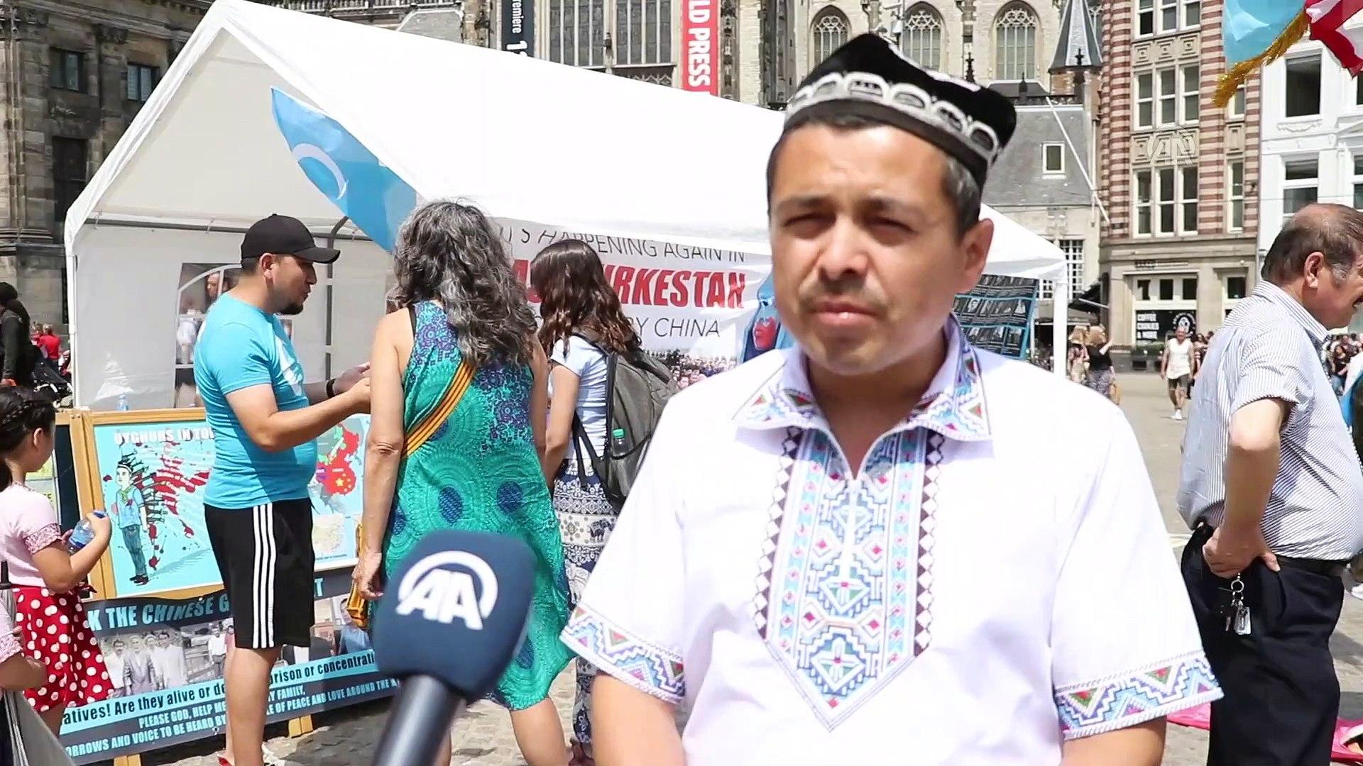 Çin'in Sincan'daki politikalarına karşı tek kişilik gösterisi - AMSTERDAM