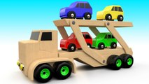 Wooden Toy Cars Transport Truck to Learn Colors for Children - 3D Kids Toddler Educational Video