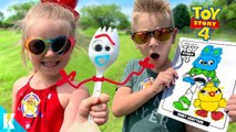 TOY STORY 4 Movie Art Challenge--- DIY FORKY and 3 Marker WOODY- KIDCITY