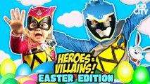 Easter Egg Hunt - Heroes - Villains Surprise Egg Challenge w/ Power Rangers, Batman - Justice League