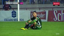 San Jorge de Tucaman players hold a sit-down protest during match