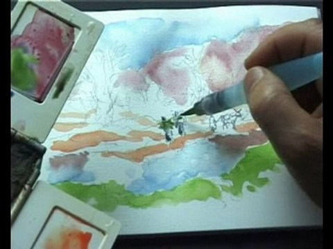 Leçon d'aquarelle  à l'Oasis de Finnt.avi