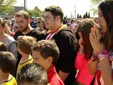 Explosión de júbilo de los aficionados del Atlético al conocer el emparejamiento con el Chelsea