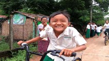 Recycled bikes get Myanmar kids to school