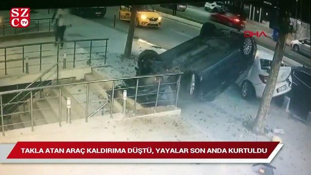Üsküdar'da takla atan araç kaldırıma düştü