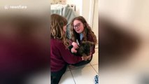 UK sisters burst into tears of joy when meeting new puppy for the first time