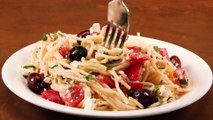 Spaghetti with Tomatoes Black Olives Garlic and Feta Cheese