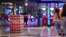 Sneaky ninja box prank hilariously frightens Beirut shoppers