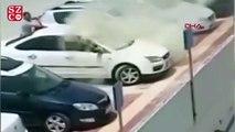 Alev alan otomobildeki engellinin kurtarılma anı kamerada