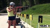 L'entraînement de l'équipe de France féminine de biathlon en cette période de canicule