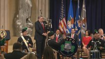Attorney General William Barr hits the bagpipes at DOJ event